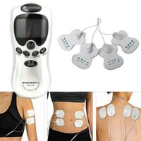 Wholesale Body Muscles - New 4 Electrode full Body Massager Therapy Acupuncture Relief Electrical Stimulator TENS Cleared Digital Muscle Relax Pulse Useful EMS