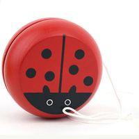 cuerdas de yoyo al por mayor-¡¡¡Color aleatorio!!! Mariquita de madera de diseño YOYO Kids Play Toys Fun Sports Classic String Toy YOYO Ball