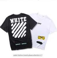 Women spray paint caps - 2017 Spring summer Europe T shirt tee streets off white Diagonal stripes Spray painting High street fashion clothing black white XL
