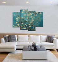 ölgemälde zweige groihandel-Handgemalte Ölgemälde Hohe Qualität 4 Stück Kein Rahmen Abstrakte Gemälde Zweige eines Mandelbaumes in Blüte Van Gogh