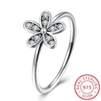 Wholesale Flower Labs - 100% 925 Sterling Pure Silver Rings with Box for Women Flower White Stone Female Wedding Ring Set Lab Certificates RG-151
