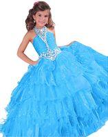 mavi tül çiçek kız elbisesi toptan satış-Kızlar Pageant Elbiseler Küçük 2019 Yürüyor Çocuk Balo Kraliyet Mavi Kırmızı Turuncu Tül Glitz Çiçek Kız Elbise Düğün Için Boncuklu