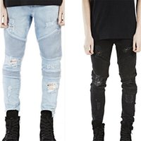 Wholesale New Mens Hip Hop Swag Biker Jeans True Ripped Destroyed Skinny Slim Fit Black Blue Fashion Style Clothing