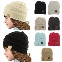 Wholesale Knitted Baby Skull Caps - 20 Pcs kids Winter Warm Hat Knitted CC Hat Label Children Simple Chunky Stretchable kids Knitted Beanies Baby Hat Beanie Skully Hats YYA275