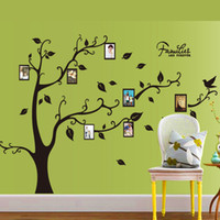 Wholesale Free Kids Photo Frames - 9063A Photo Frame Tree Wall Stickers Birds Tree Branches Wall Decals For Kids Rooms English Quote Wall Art Home Decor Free Shipping