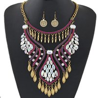 Wholesale Gemstone Statement Necklace - Large casting statement necklace and earrings set big jewelry Europe long diamond necklace set new retro fashion wholesale gemstone NE set