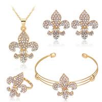 Wholesale Poseidon Necklace - Gold Crystal Poseidon Trident Pendant Necklace Earrings Adjustable Bracelets Ring Jewelry Sets for Wedding Brides Bridesmail Jewlery 162165