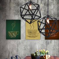 endüstriyel stil aydınlatma toptan satış-Endüstriyel Edison Asılı modern avizeler aydınlatma minimalist chihuly stil avizeler Büyük Boy Art Deco Kafes Lamba Guard Metal