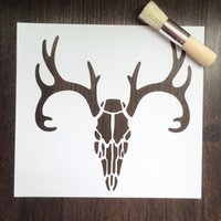 Wholesale Cheap Stencils - Cheap white deer skull stencils Masking template For Scrapbooking,cardmaking,painting,DIY cards-The Deer skull 195