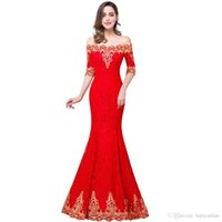 Wholesale light power designer for sale - 2017 New In Stock Cheap Half Sleeves Lace Designer Occasion Dresses Off Shoulders Gold Lace Appliques Corset Back Vintage Evening Gowns prom