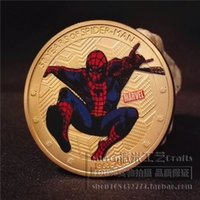 1pc, moneta americana 50-anniversario di spider-man, moneta commemorativa della moneta d'oro del supereroe del film di Hollywood