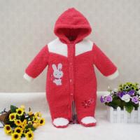 ropa de invierno para niños al por mayor-Little Q Coral terciopelo manga larga ropa de bebé de invierno una pieza niño mono niños recién nacidos ropa de niña ropa infantil