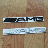 siyah krom araba toptan satış-Araba Kuyruk Logo 3D ABS Krom Gümüş Siyah AMG Badge Sticker Için Benz Gövde Arka Çıkartması SL SLK Sınıf CLK