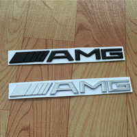 ingrosso badge amg-Car Tail Logo 3D ABS Chrome Argento Nero AMG Badge Sticker per Benz Trunk Rear Decal SL SLK Classe CLK