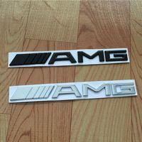 emblemas de plástico para automóveis venda por atacado-Logotipo da Cauda do carro 3D ABS Chrome Prata Preto AMG Emblema Etiqueta Para Benz Tronco Traseiro Decalque SL Classe SLK CLK