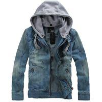 Wholesale Korea Spring Men Jacket - Wholesale- MAN SPRING 2014 new arrival korea style thicken cotton jeans jacket men XXXL XXXXL 5XL BLUE denim jacket with hood for men