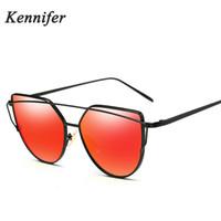 Wholesale Light Brown Frame Glasses - Kennifer New Arrival Metal Cat eye Women Sunglasses Summer Ultra Light Fashion Men Sun Glasses Brand Designer Sunglasses UV400 With Package