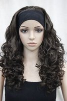 Wholesale Half Wig Hair Pieces - New 3 4 wig with headband hair piece brown curly wavy long women's half wig