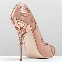 Wholesale Leather Prom Heels - 2017 pink blue satin bridal wedding shoes eden pumps high heels with leaves shoes for evening prom party