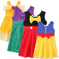 Wholesale sundresses for kids - New Girls Cartoon Cosplay Dress Clothes Princess Summer Sleeveless Cosplay Dress Sundress With Bow Children Kids Cotton Vest Dress For 1-8T