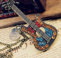 Wholesale Guitar Strips - Wholesale-Fashion Retro Multicolor Rhinestone Guitar Pendant Gold Plated Fatima Hand Layer Chain Bar Necklace Beads Strip Necklaces N144