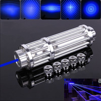 Wholesale Pen Optical - High Power Blue Laser Pointers Pen focus Pattern Adapters Glass Optical Lens class4 lazer+5 Star Caps Free Shipping