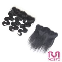 Wholesale Human Hair Weave Bleachable - Brazilian Hair Lace Frontal Closure 13*4 Natural Black 1B Straight Body wave Deep wave human hair Weave closure Dyeable Bleachable