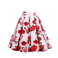 Compra Juniores S Club-Red Rose Ivory Vintage Skirt Floral Printed Tutu Donne Teen Juniors Ragazze Cotone Un Linea Pron Party Club Swing Autunno Flower Dress Casual