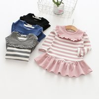 Wholesale Dress Childen - 2017 hot sale new version of childen striped skirt baby girls princess dresses lace dresses autumn 4 colors children dresses free shopping