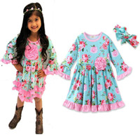 Wholesale Girls Ruffles Flounced Skirt - 2017 Girls flower long sleeve dress 2pc set headband+flouncing dresss infant sweet floral pleated skirt outfits