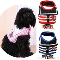 Wholesale Wedding Accessory Kits - Dog Cat Harnesses Kit Navy Style Jacket+Leash Set Pet Dog Vest Harnesses Pet Traction Rope Leash Collar for Dogs Cats