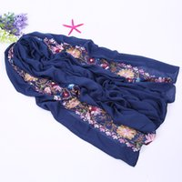 Wholesale Embroidered Long Scarves - Wholesale- Vintage Style Flower embroidered Women Scarfs Oversized Long Pure Cotton Scarves Ladies Outdoor Casual Retro Shawls Foulard