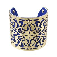 Designer Jóias Bijoux Mulheres Gold Color Alloy Hollow Out Punk Style Colorful Pu Leather Cuff Braceletes e Bangles
