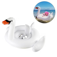 Wholesale Inflatable Toddler Bath - Baby Summer Inflatable Swimming Ring Seat Swan Flamingo Seat Swan Swimming Ring Float toddler Water beach Toys (White)