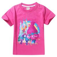 Wholesale Cartoon Tees For Kids - Kids Summer T-shirt The Good Luck Trolls Shirt New Movie T-shirts for Girls Cotton Tees Clothes Girls Cartoon T-shirts
