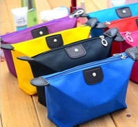 Wholesale Toiletries Bag For Travel - Cosmetic Bags For Women MakeUp Pouch Solid Make Up Bag 9 Colors Clutch Hanging Toiletries Travel Kit Jewelry Organizer Casual Purse