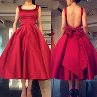 Wholesale Gown Open Back Bow - 2017 All Red Tea Length Satin Prom Dress Open Back With Bow Plus Size Square Neck A-line Straps Formal Evening Gowns Custom Made