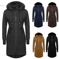 Wholesale Womens Trendy Jackets - New Fashion hot women jacket Womens New Trendy Casual Hooded Long Slim Hoodie Coat Long Sleeve Drawstring Outwear