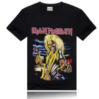 Wholesale Iron Maiden Wholesalers - Iron Maiden Printing New Men T-shirt Rock Band More Colors Fashion Sports T-shirt Black Size S-XXXL
