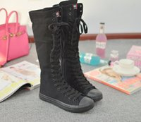 Wholesale Long Lace Slip - 2017 fabric free shipping spring summer high shoes long cloth shoes studengt cansal black boot shoe 333