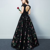 Wholesale Arabic Printing - Elegant Long Evening Dress Ball Gown Scalloped Cap Sleeve Top Lace Floor Length Black Arabic Style Evening Dresses Custom Made