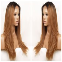 Cosplay Blonde Brown Perruque Ombre Long Straight Cheap Women Perruques synthétiques Front Lace Hair Black to 30 # For White / Black Women