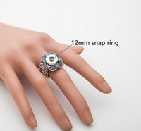 Wholesale Alloy Antique Rings Adjustable - 20pcs Adjustable size 12MM Noosa Snap Button rings for women Antique Silver DIY noosa Buttons Snap Ring 2017 Jewelry