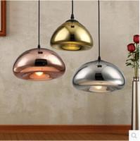 Wholesale Glass Bowl Pendant Light - Modern Nordic Lustre Void Copper Brass Bowl Mirror Glass Pendant Light LED Bar Art Gold Pendant lamp Lighting Fixture Luminiares
