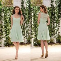 correas de novia vestido de dama de honor al por mayor-Nuevo Jasmine Sage Country Style Corto Vestidos de dama de honor Correas de espagueti cariño Mint Green Maid Of Honor Vestidos de menta