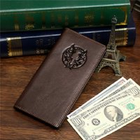 Hot vendant Vintage Real Leather Billfold Wallet Card Holder Purse Livraison gratuite Prix le plus bas 8009