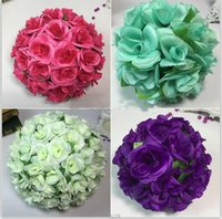 Wholesale Satin Kissing Balls - 7.87 inch (20CM) Artificial Rose Satin Pomander Kissing Balls for Home Wall Wedding Party Ceremony Home Decoration Kissing Ball