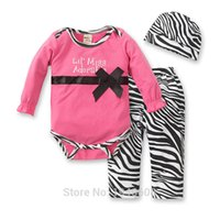 Wholesale Leopard Baby Hats - Wholesale- New 2017 autumn winter baby girl clothes leopard rompers + pants + hat 3pcs baby clothing set children kids suit