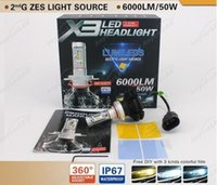 Wholesale H11 Blue Led Bulb - Super Bright 50W 12000lm 3000K 6500K 8000K X5 All in one X3 Car LED Headlight Auto Headlamp 6000lm Bulb H4 H7 H8 H11 H16 H1 H3