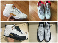 Wholesale Mens Chinese Shoes - 2017 Mens Air Retro 12 High Chinese New Year Taxi Black White Varsity Red Gold Basketball Shoes for Men Sneakers US8-US13 Athletics Shoes